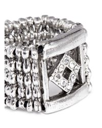 Philippe Audibert | Metallic Lazar Square-diamond Frame Rhinestone Ring | Lyst