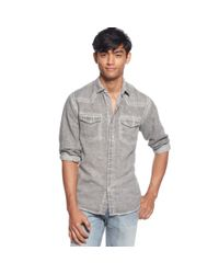 Guess - Gray Western Walker Linen Shirt for Men - Lyst