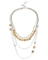 Robert Lee Morris | Metallic Silver-tone And Leather Multi-row Necklace | Lyst
