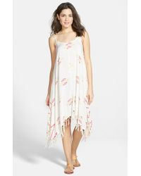 Billabong - White 'sunlit Summer' Print Fringe Dress - Lyst