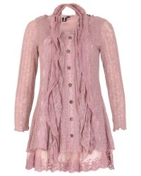 Izabel London - Pink Lace Button Up Top - Lyst