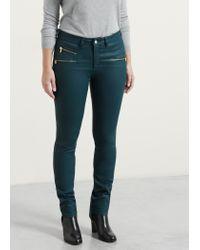 Violeta by Mango | Green Coated Slim-fit Carmen Jeans | Lyst