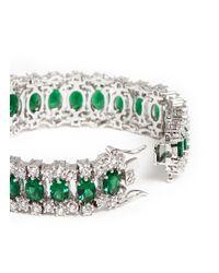 CZ by Kenneth Jay Lane | Green Oval Cut Surround Cubic Zirconia Bracelet | Lyst