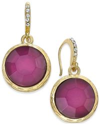 INC International Concepts | Metallic Gold-tone Mauve Stone Drop Earrings | Lyst