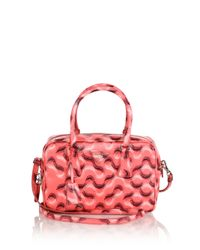 Prada - Pink Printed Saffiano Leather Bowler Bag - Lyst