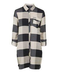 TOPSHOP - Blue Oversized Check Shirt-dress - Lyst