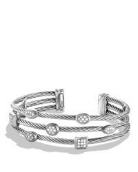David Yurman | Metallic Confetti Three-row Cuff With Diamonds | Lyst