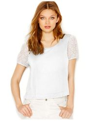 Kensie - White Mesh-Detail French Terry Top - Lyst