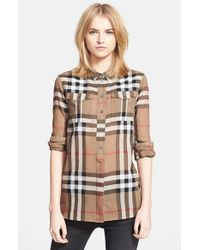Burberry Brit | Brown Woven Check Tunic Shirt | Lyst