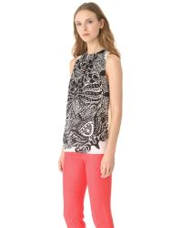 Peter Som - Black Vine Print Sleeveless Top - Multi - Lyst