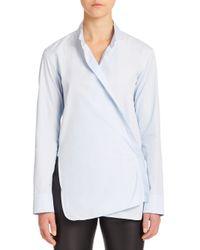 Helmut Lang - Blue Overlap Poplin Shirt - Lyst