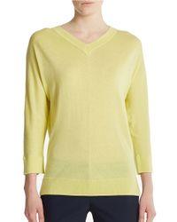 DKNY | Yellow V-Neck Sweater | Lyst