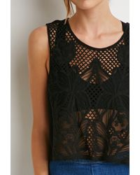 Forever 21 - Black Contemporary Floral Crochet-front Top - Lyst