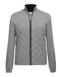 BOSS Green | Gray 'zagan' Cardigan In A Cotton Blend for Men | Lyst