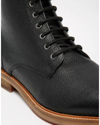 ASOS - Boots In Black Scotchgrain Leather for Men - Lyst