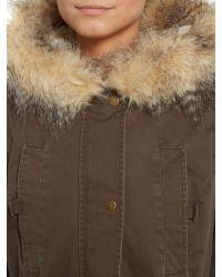 Label Lab | Blue Faux Fur Twill Parka Coat | Lyst