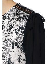 Giamba - Blue Retro Flower Jacquard Silk Sleeve Dress - Lyst