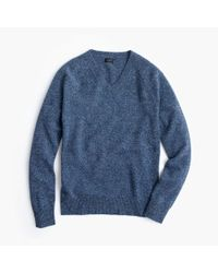 J.Crew | Blue Slim Marled Lambswool V-neck Sweater for Men | Lyst