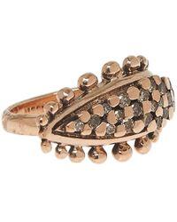Laurent Gandini - Pink Brown Diamonds Leaf Ring - Lyst