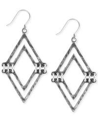 Lucky Brand - Metallic Silver-Tone V-Shaped Drop Earrings - Lyst