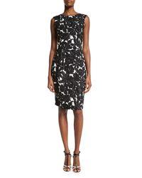 Oscar de la Renta - Black Floral-print Sleeveless Sheath Dress - Lyst