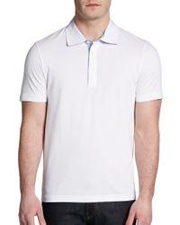 Saks Fifth Avenue Black Label - White Cotton Pique Polo for Men - Lyst