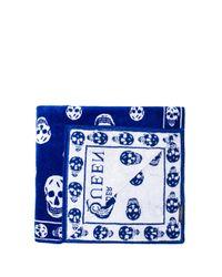 Alexander McQueen - Blue Skull Towel - Lyst