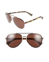 Emporio Armani - Metallic 58mm Aviator Sunglasses for Men - Lyst