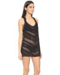 MILLY - Black Draped Crochet Tunic - Lyst