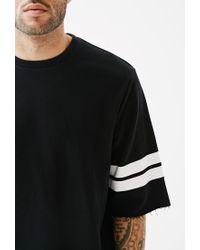 Forever 21 - Black Varsity Stripe Cutoff Sweatshirt for Men - Lyst