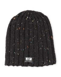 Neff | Black Speckled Ribbed Beanie for Men | Lyst