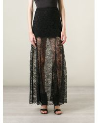 DKNY - Black Sheer Lace Maxi Skirt - Lyst
