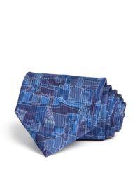 Ferragamo - Blue Florence Cityscape Classic Tie for Men - Lyst