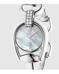 Gucci - Gray Diamond Horsebit Bracelet Stainless Steel Watch for Men - Lyst
