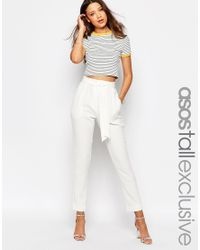 ASOS - Natural Tall Co-ord Belted Slim Leg Tailored Trouser - Lyst