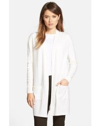 Lafayette 148 New York | White Silk & Wool Long Sleeve Cardigan | Lyst