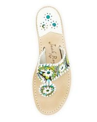 Jack Rogers - Green Peacock Printed Whipstitch Sandal Turquoisewhite - Lyst