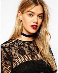 ASOS - Blue Velvet Choker Necklace - Lyst