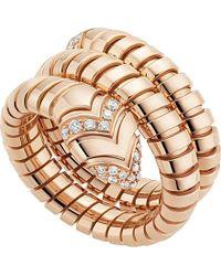 BVLGARI - Metallic Serpenti Tubogas 18kt Pink-gold And Diamond Ring - Lyst