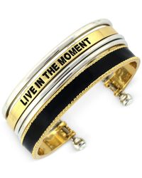 "BCBGeneration | Black Two-Tone Enamel ""Live In The Moment"" Cuff Bracelet 