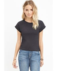Forever 21 | Black Cuffed-sleeve Boxy Tee | Lyst