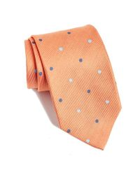 David Donahue | Orange Dot Silk Tie for Men | Lyst