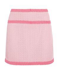 Boutique Moschino - Pink Open Waffle-knit Cotton-blend Mini Skirt - Lyst