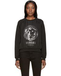 Versus | Black Chiffon Logo Sweatshirt | Lyst