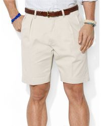 Polo Ralph Lauren | Natural Classic-Fit Pleated 9 Inch Chino Shorts for Men | Lyst
