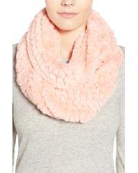 La Fiorentina - Pink Faux Fur Infinity Scarf - Lyst