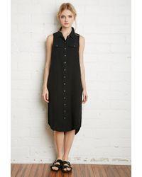Forever 21 - Black Cotton Utility Shirt Dress - Lyst