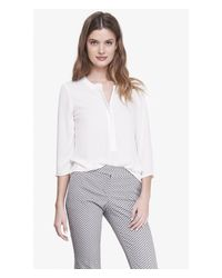 Express | White Zip Front Crepe Blouse | Lyst