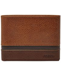 Fossil - Brown Newell Id Bifold Wallet for Men - Lyst