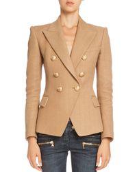 Balmain - Brown Double-breasted Tweed Jacket - Lyst